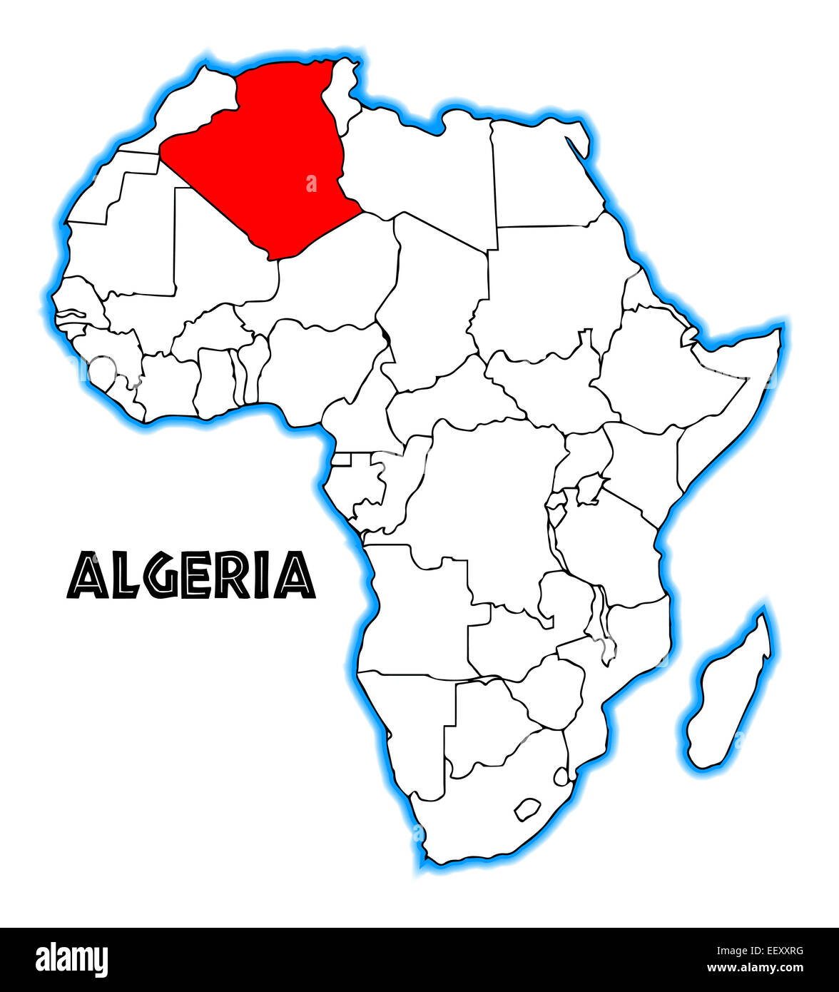 algeria on africa map Algeria Outline Inset Into A Map Of Africa Over A White Background algeria on africa map