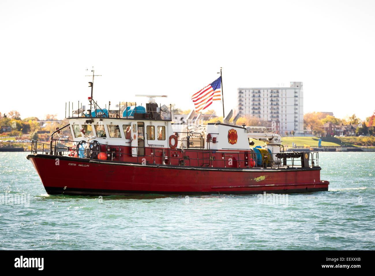 Fireboat of the Detroit Fire Department, Michigan, USA, Oct. 25, 2014. - Stock Image