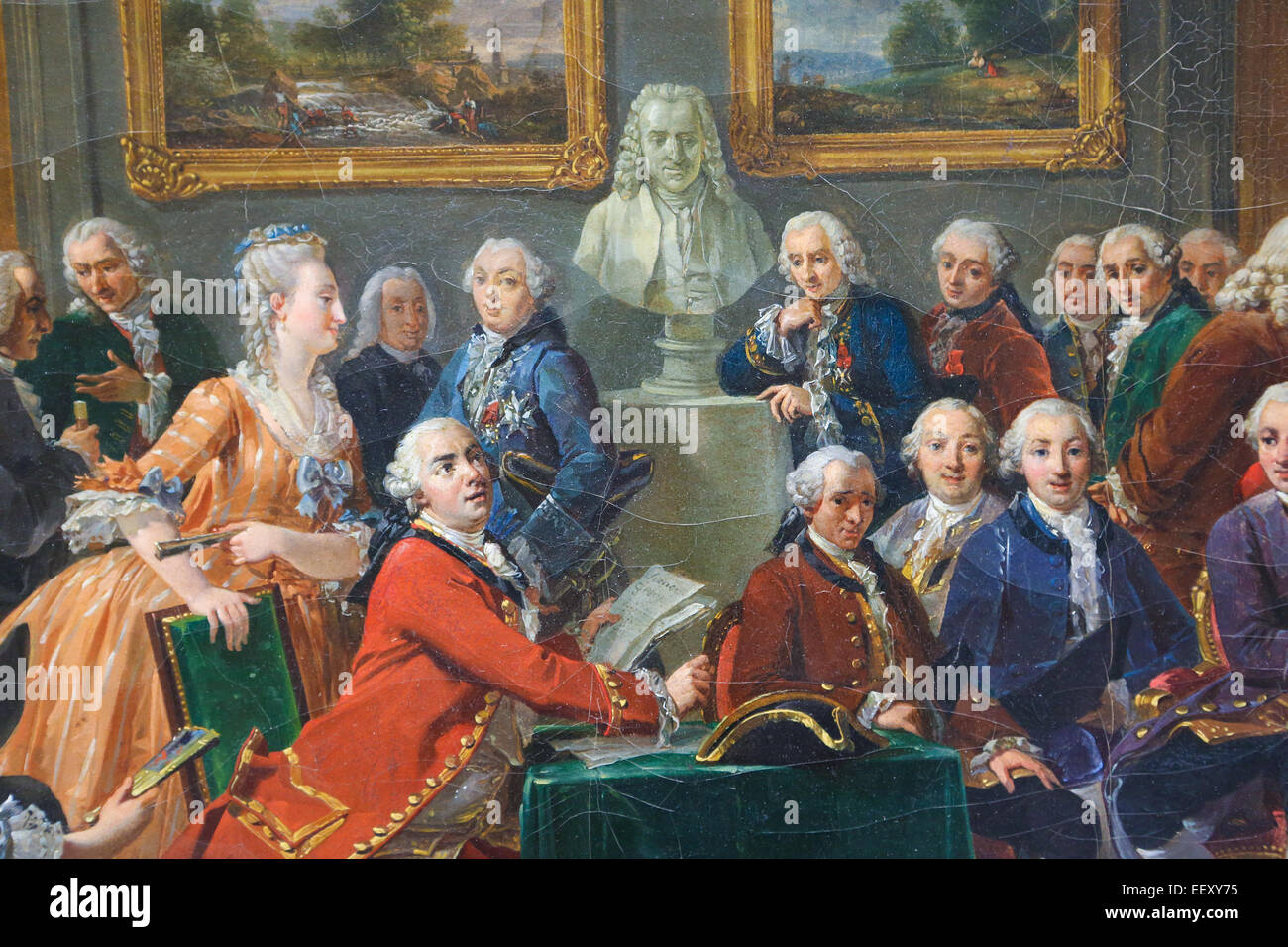 Painting depicting the reading of the tragedy l'Orphelin de la China by Voltaire in the salon of Madame Geoffrin - Stock Image