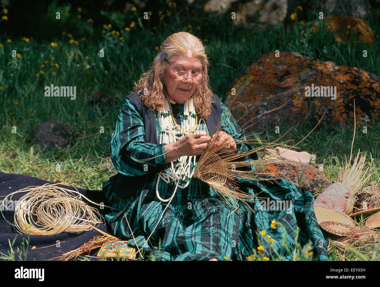 Kashia Pomo woman weaving  traditional 'cone shape acorn gathering basket'. - Stock Image