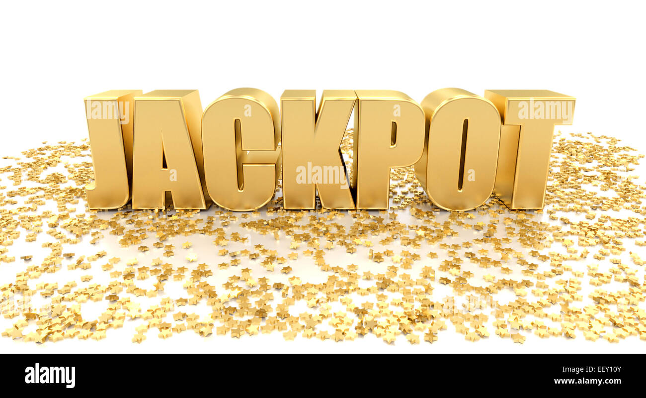 Jackpot with stars on white background - High quality 3D Render - Stock Image
