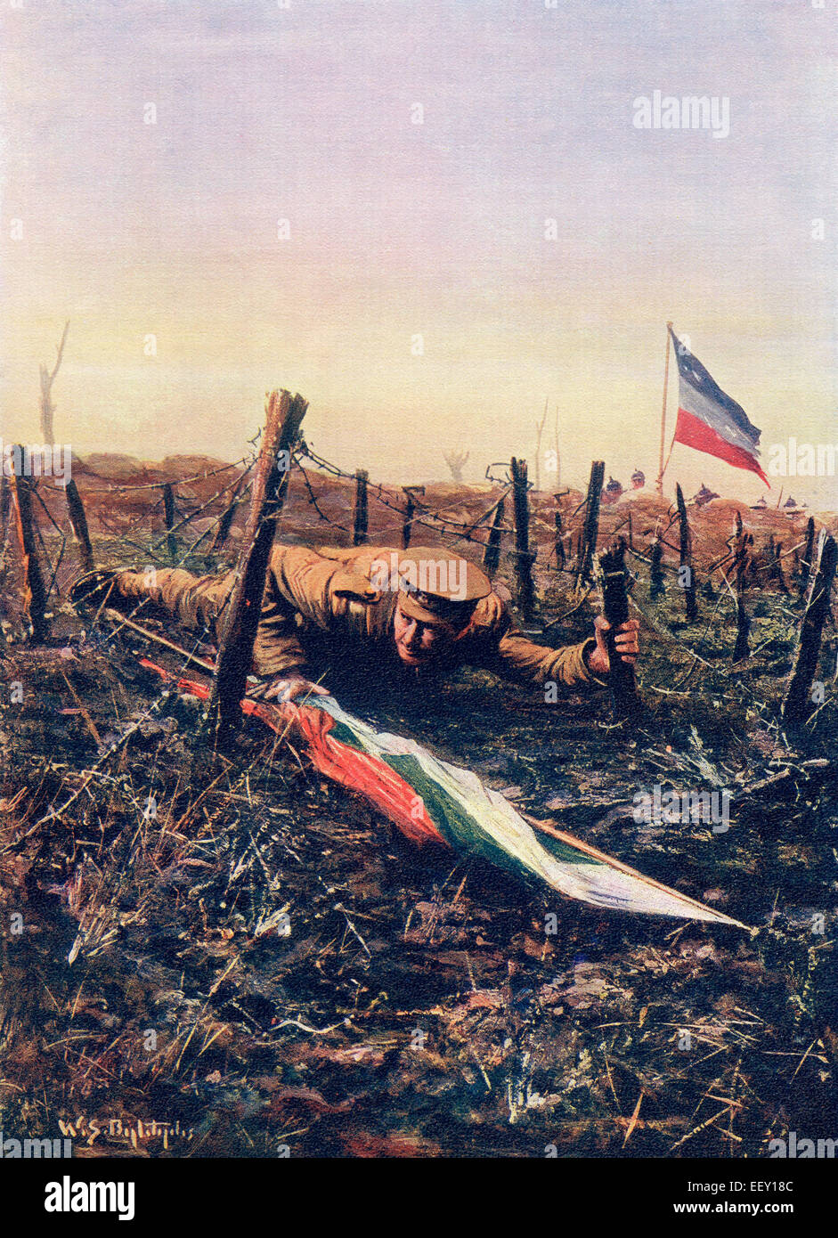 Corporal W.H. Lappin returning to his trench after capturing a Bulgarian flag from the German enemy, Yser Canal, - Stock Image
