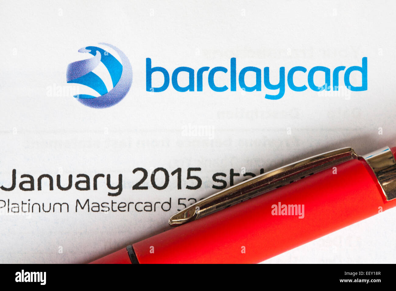 After Christmas spending the Barclaycard January 2015 statement arrives - Platinum Mastercard - Stock Image