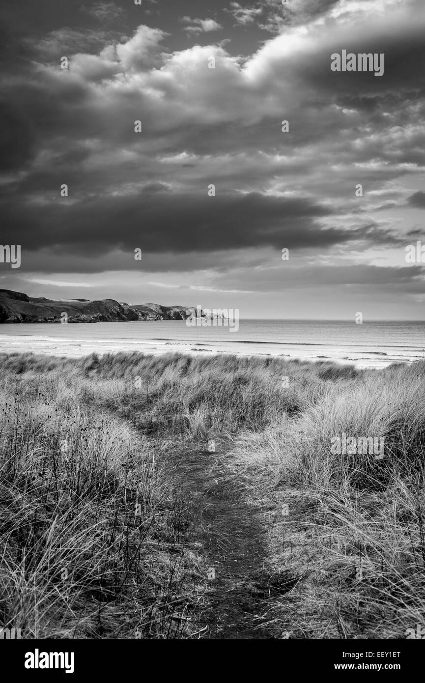 Strathy Bay Beach is well known surfing beach on the north coast of Scotland - Stock Image