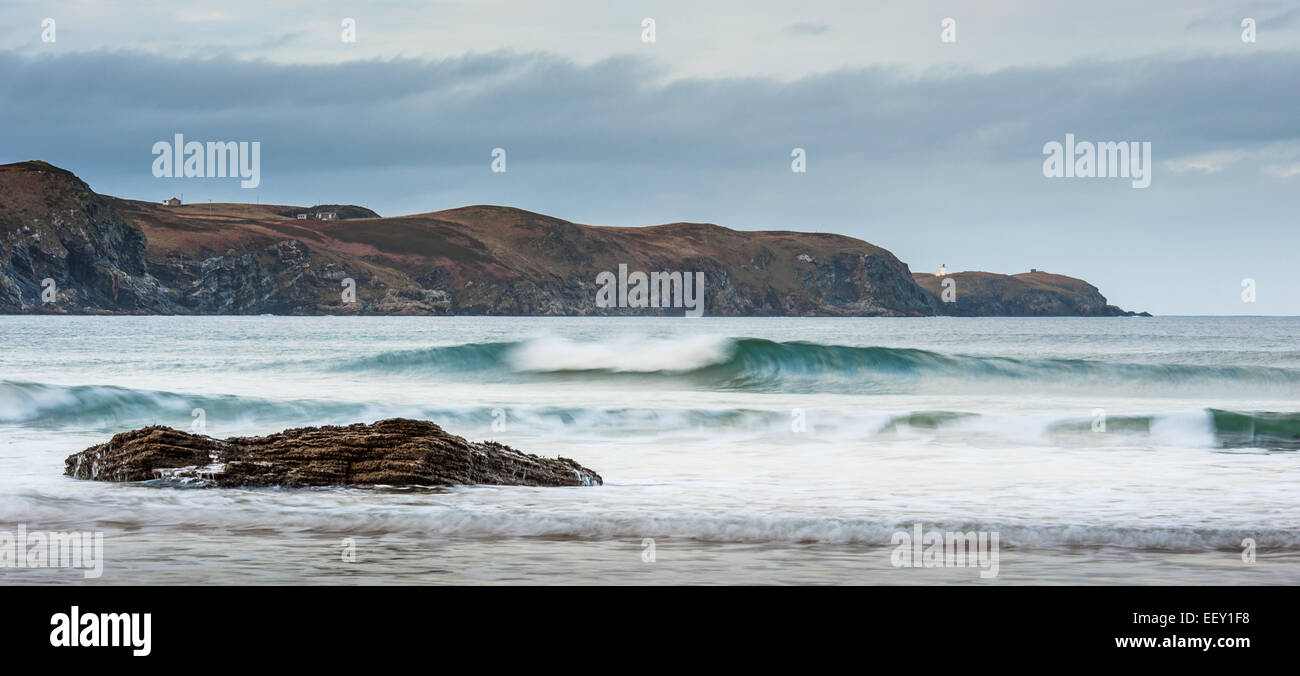 Looking across the sea from Strathy Bay towards Strathy Point - Stock Image