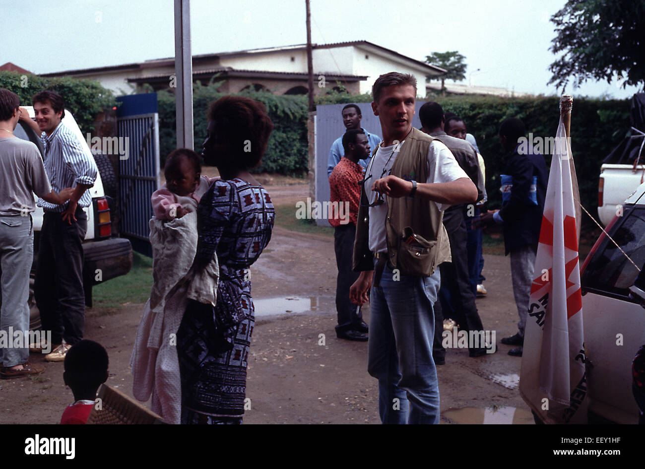 MSF Belgium arrive in Burundi marking the last Europeans to leave Rwanda at the height of the genocide - Stock Image