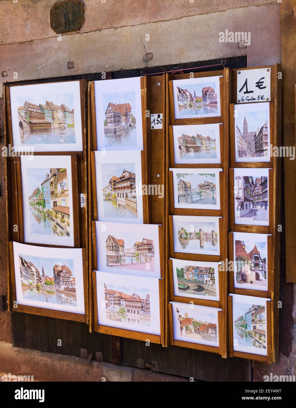 Postcards in Strasbourg, France - Stock Image