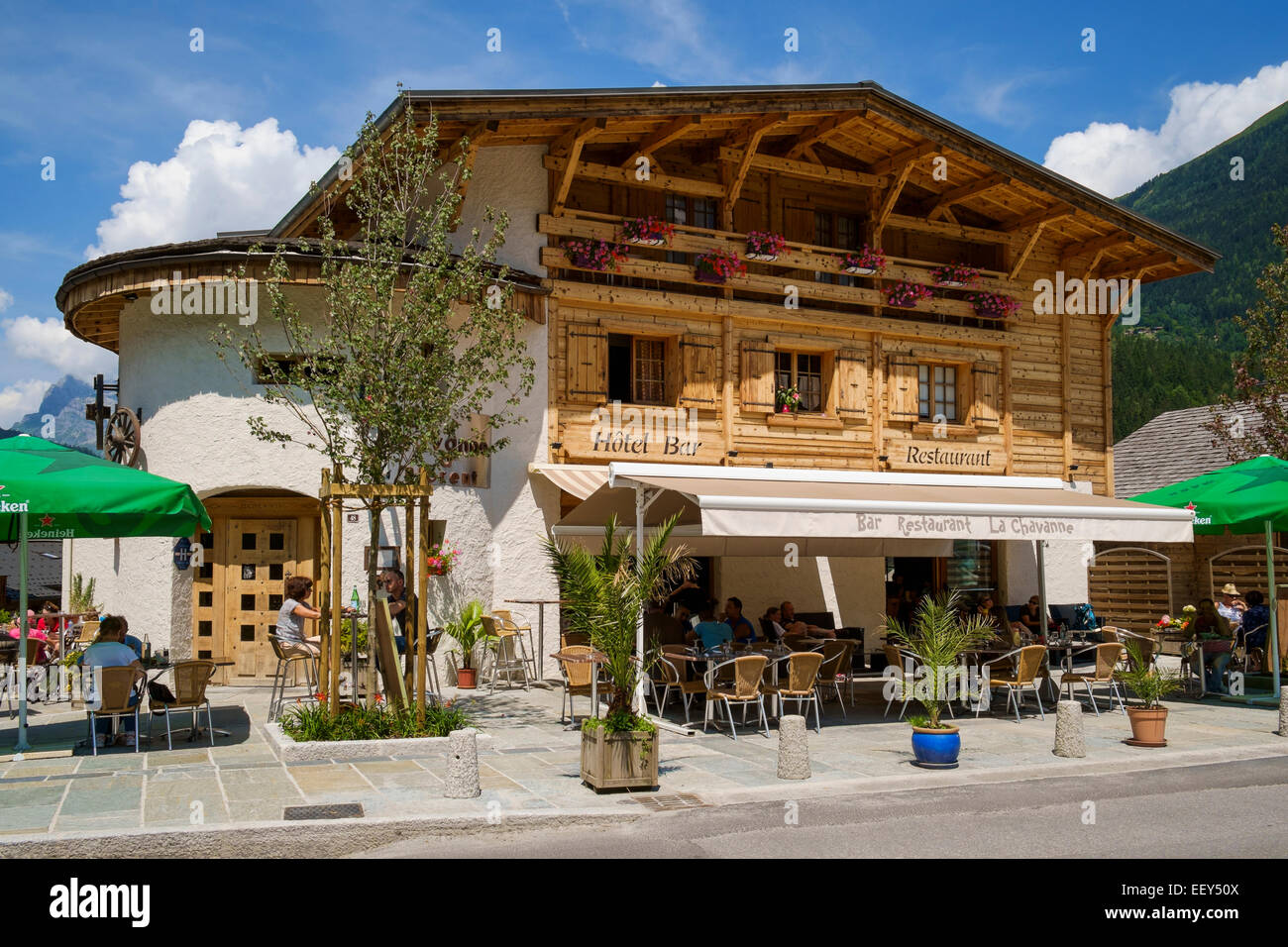 Hotel bar cafe in Les Houches ski resort, Chamonix, French Alps, Haute-Savoie, France, Europe - Stock Image
