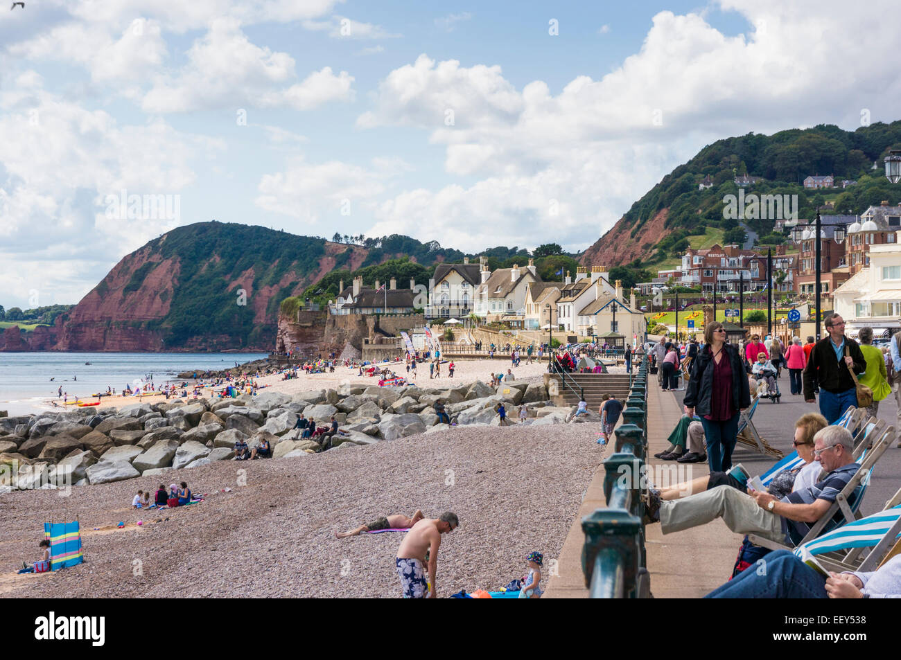 Coast, promenade and beach at Sidmouth, East Devon, England, UK in summer - Stock Image
