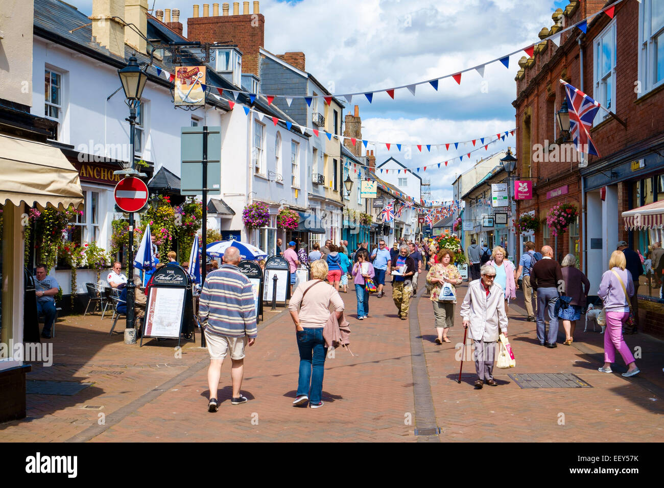 Sidmouth, East Devon, England, high street UK - shoppers in the High street in the town centre in summer at this - Stock Image