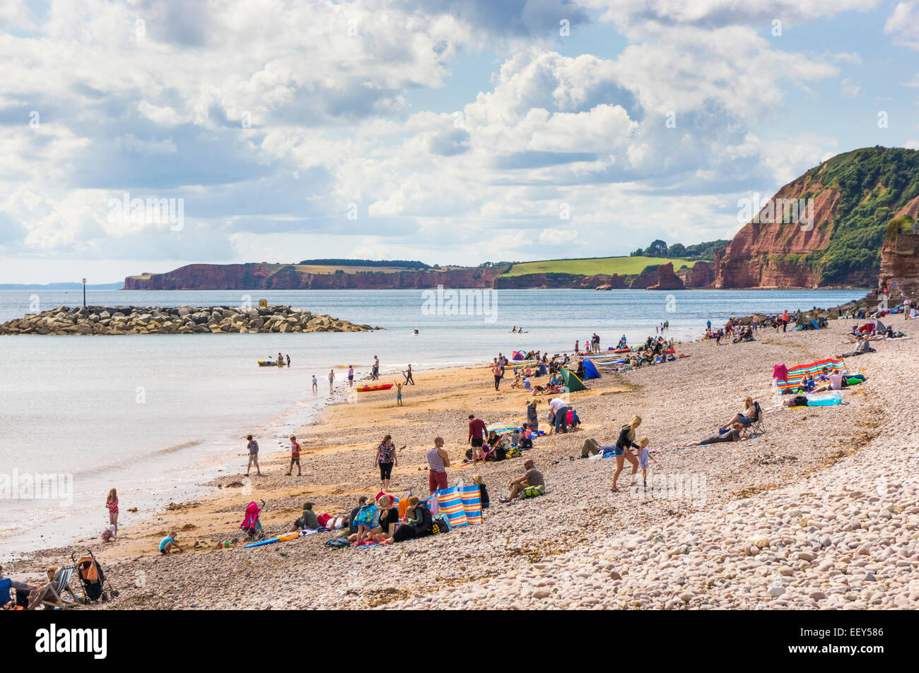 Devon coast - People and families sunbathing on the beach in summer and swimming on the Jurassic Coast, Devon, UK - Stock Image