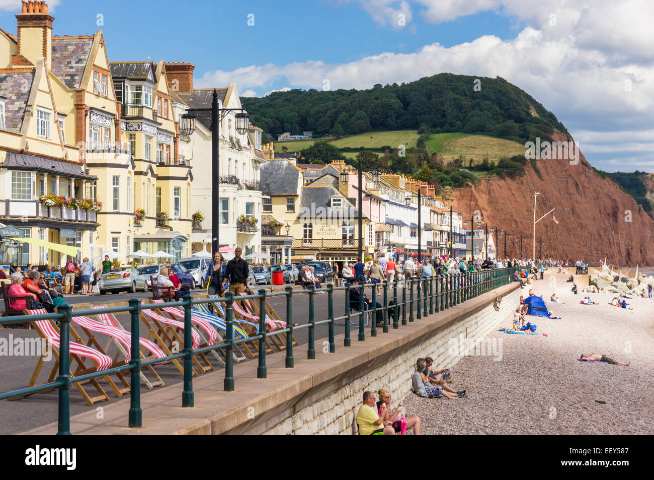 Old fashioned seaside town of Sidmouth, Devon, UK - Stock Image