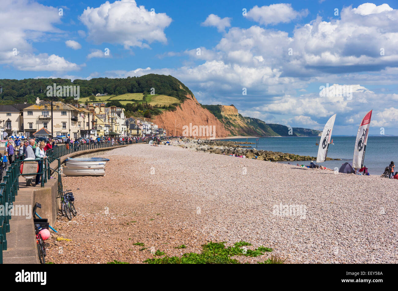 Devon coast - Sidmouth beach, England - Stock Image