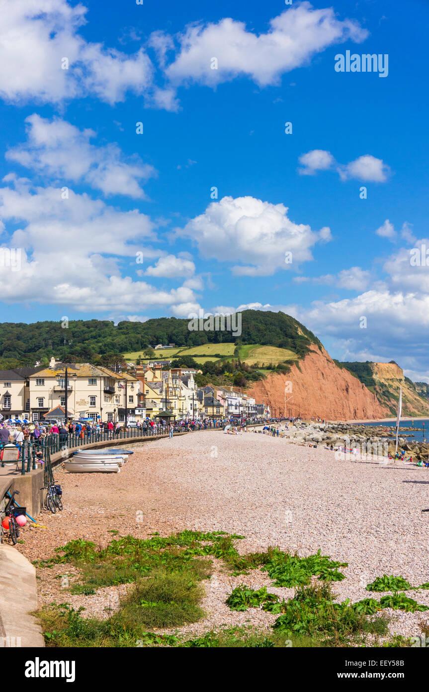 Sidmouth, East Devon, England, UK - promenade and beach - Stock Image