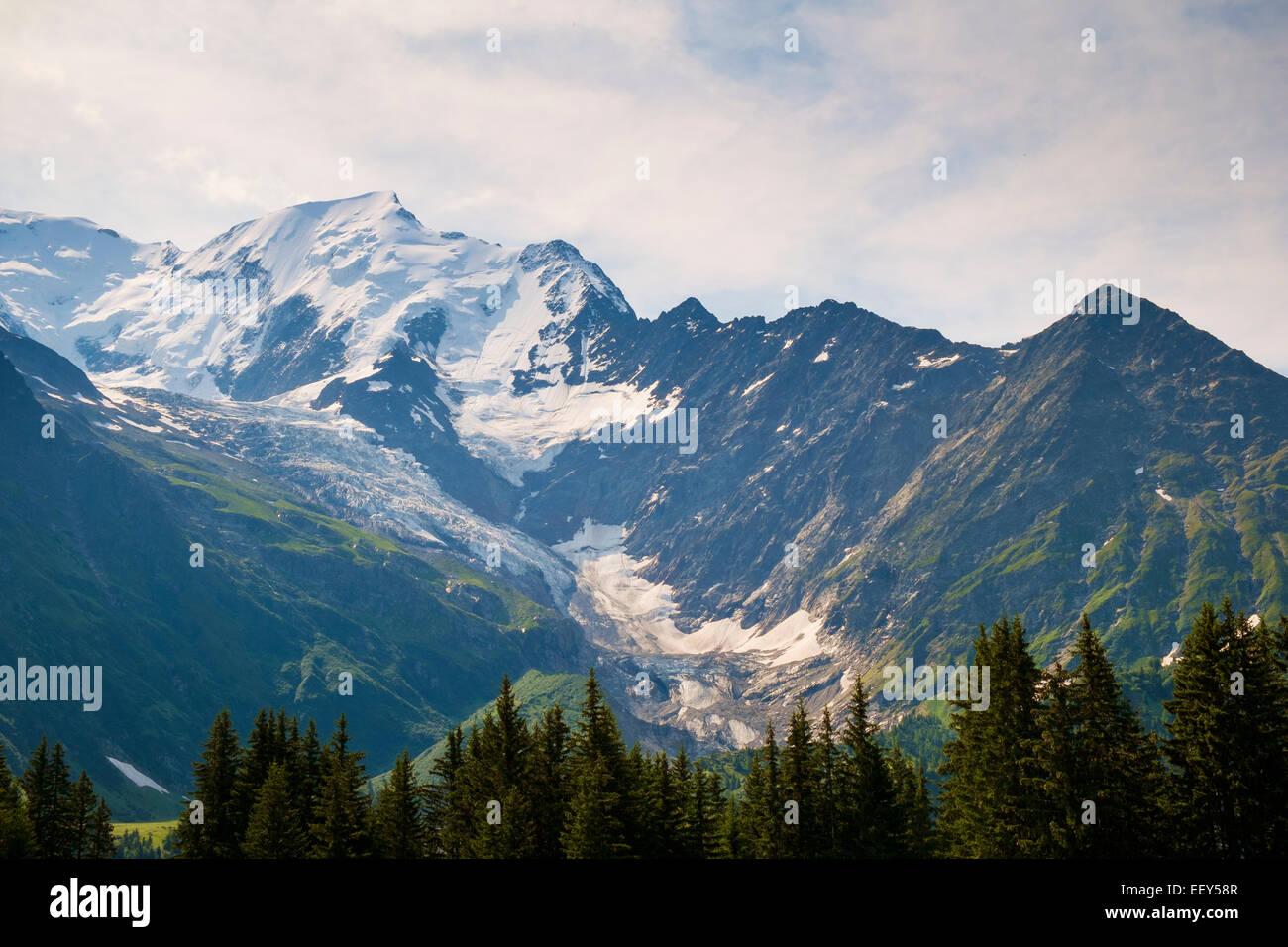 Mont Blanc, Glacier de Bionnassay and Col du Tricot, Rhone-Alpes, Haute-Savoie, France, Europe - Stock Image