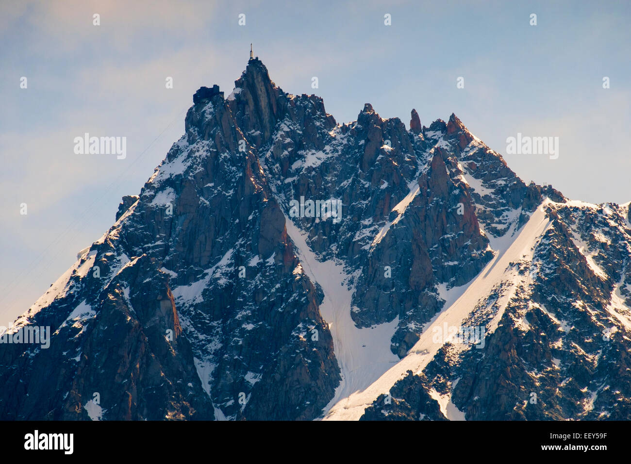 Aiguille du Midi with cable car station on the summit above Chamonix, French Alps, Haute-Savoie, France, Europe - Stock Image