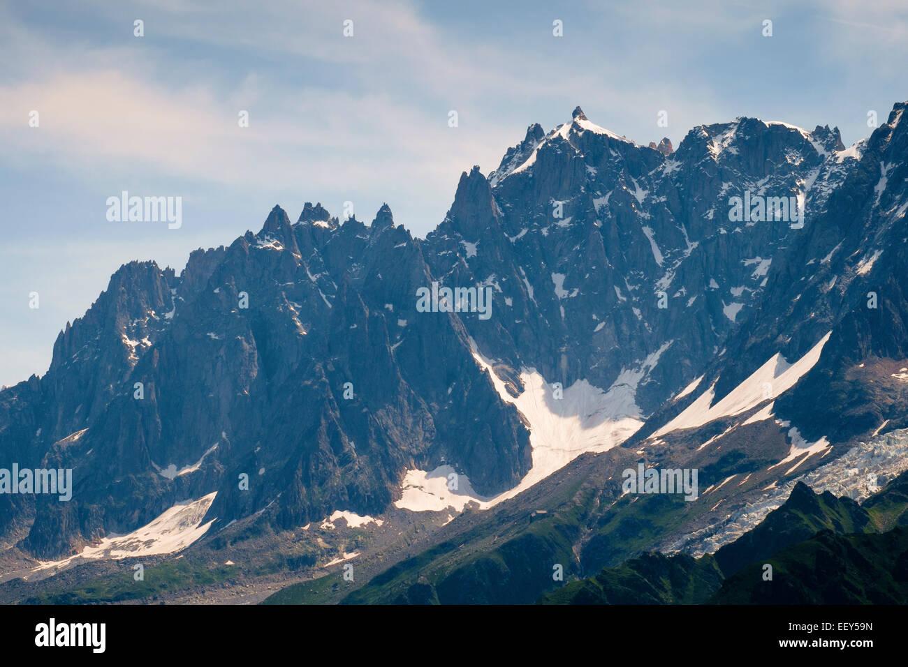 Aiguille du Midi, Aiguilles de Chamonix, mountain range, Rhone-Alpes, Haute-Savoie, France, Europe - Stock Image