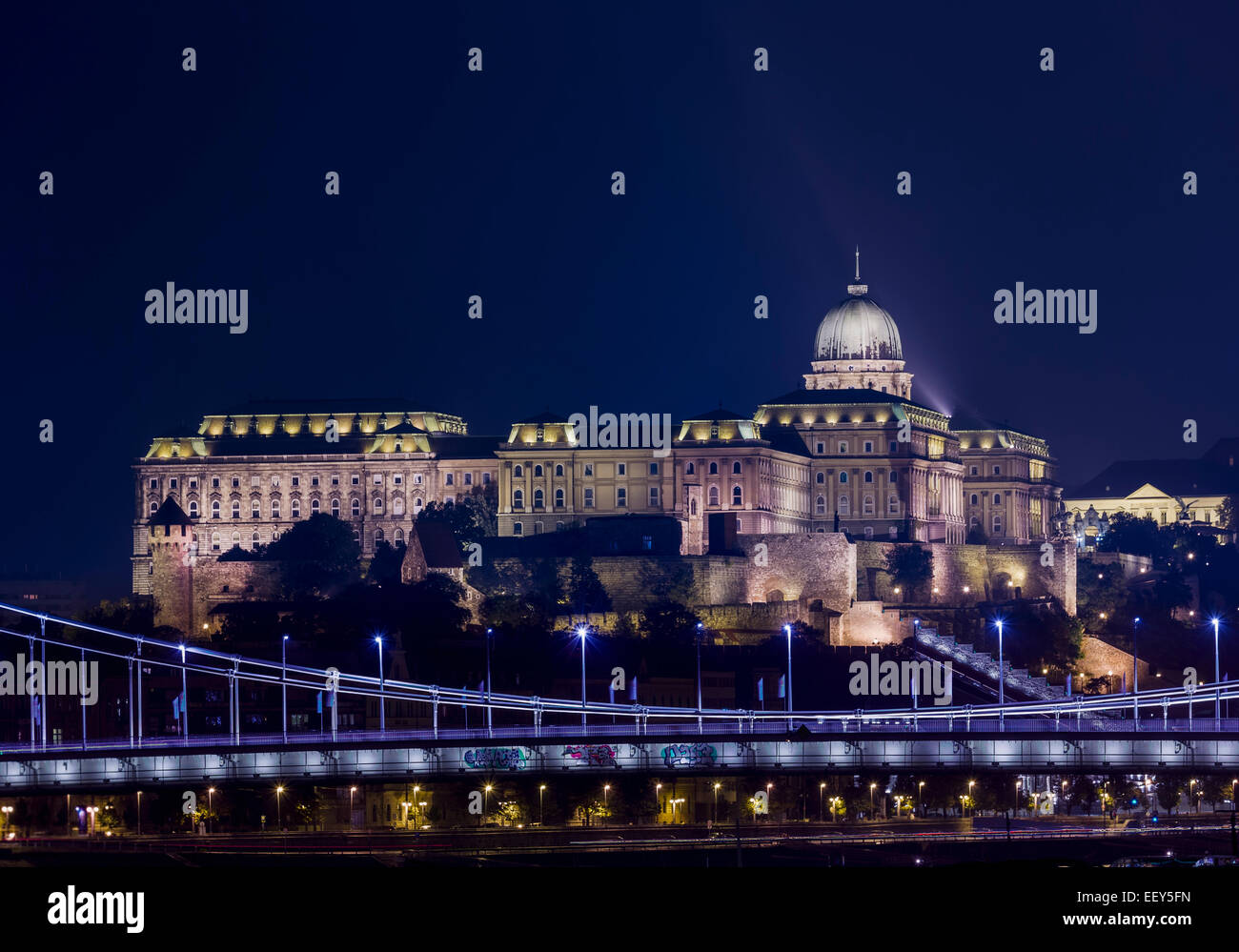 Night shot of the illuminated Buda Castle and Castle District in Budapest, Hungary - Stock Image