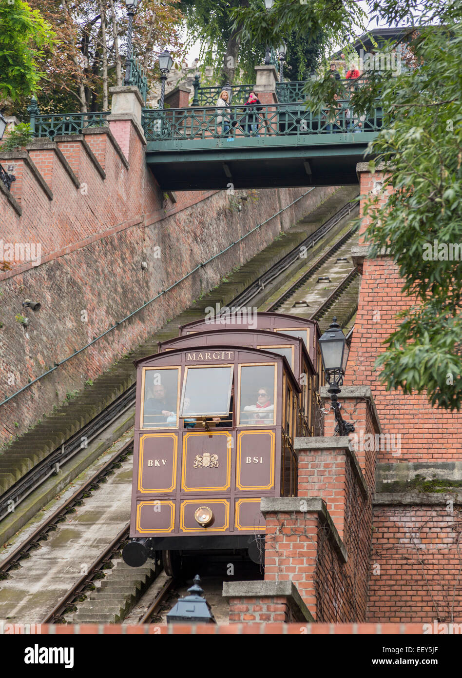 Carriage of vertical funicular railway on Castle Hill in Buda, Budapest, Hungary Stock Photo