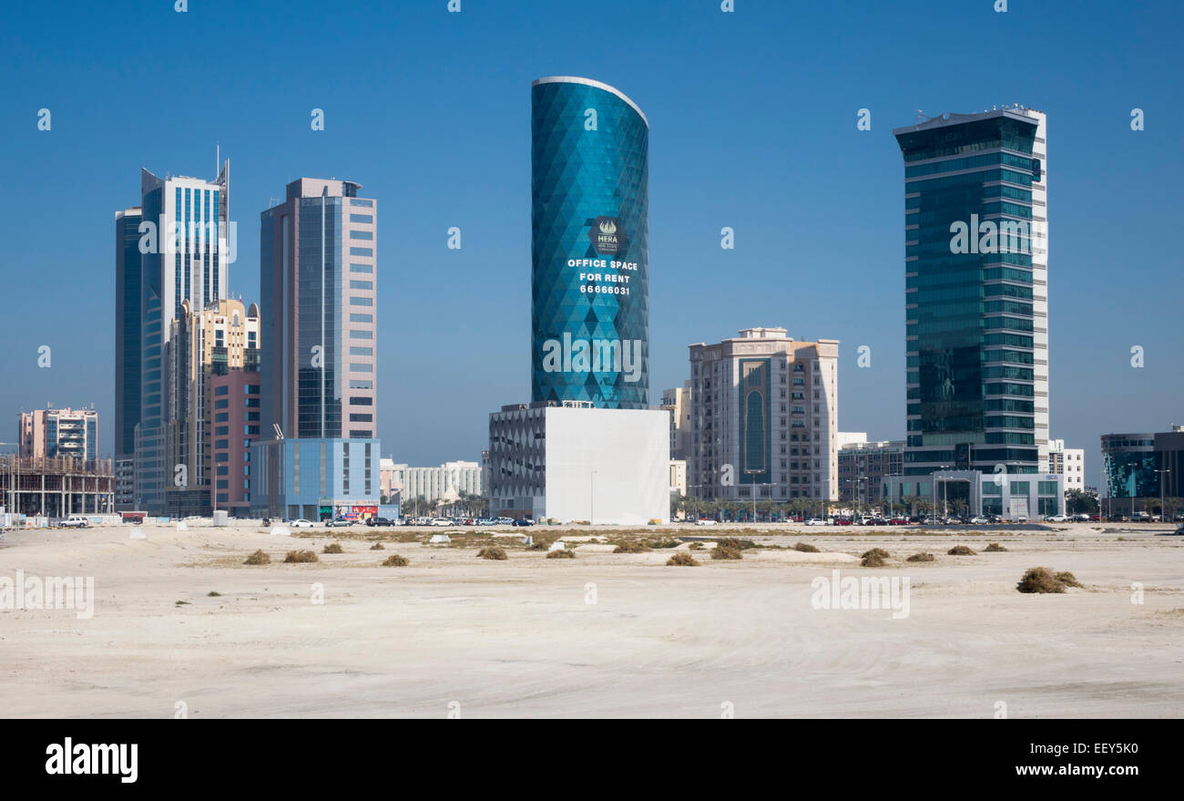 Construction of new office buildings on reclaimed land near the capital Manama in Seef, Bahrain - Stock Image