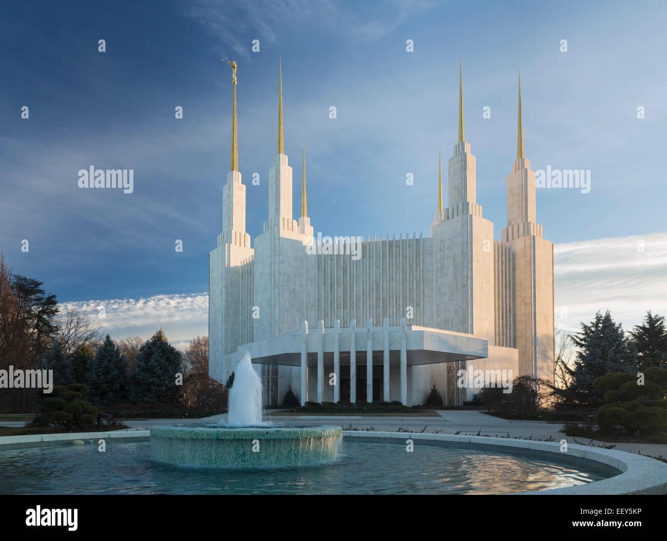 Washington DC Temple or Church of Jesus Christ of  Latter-day Saints in Kensington, Maryland, USA - Stock Image