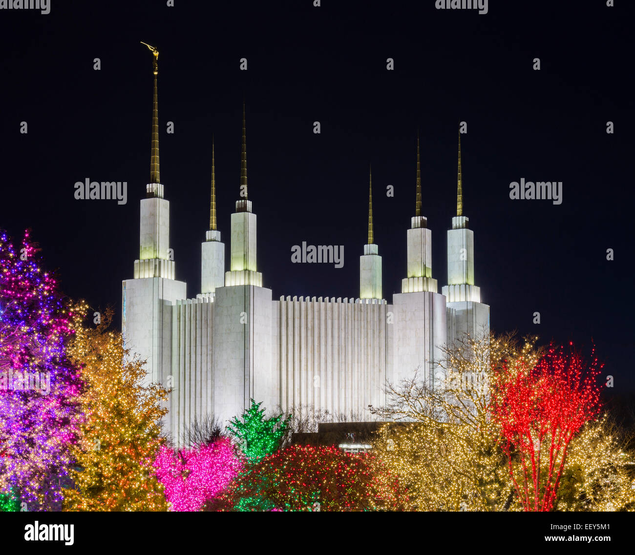 Christmas lights at Washington DC Temple or Church of Jesus Christ of  Latter-day Saints in Kensington, Maryland, - Stock Image