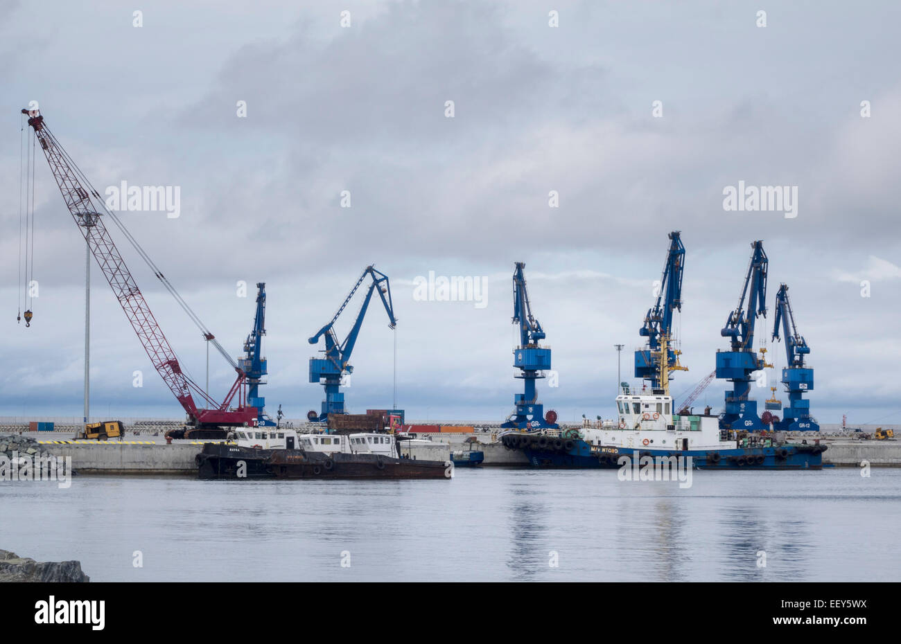 Large cranes at the new port expansion in Bata, Equatorial Guinea, West Africa - Stock Image
