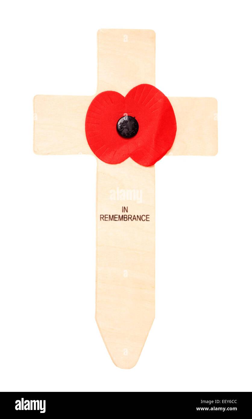 poppy on a cross studio cutout - Stock Image