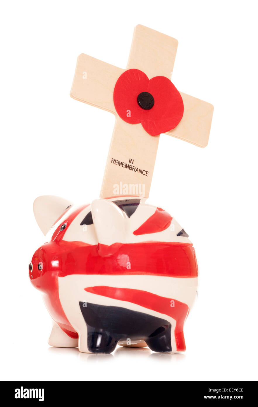 Giving money on remembrance day cutout - Stock Image