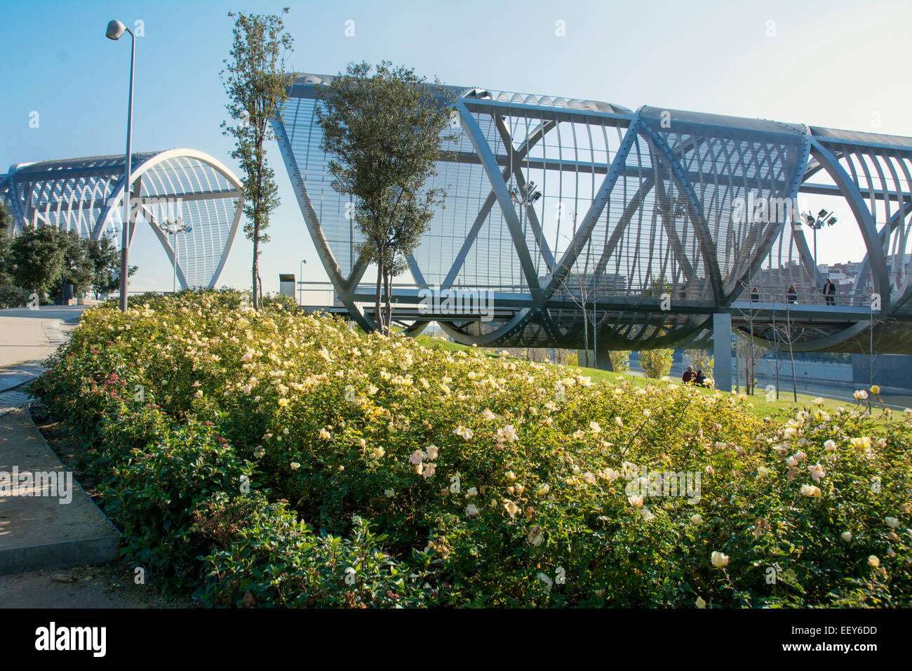 Arganzuela Bridge in Madrid Rio Park, Madrid, Spain.  Designed by Dominique Perrault, it is 274 metres in lenght Stock Photo