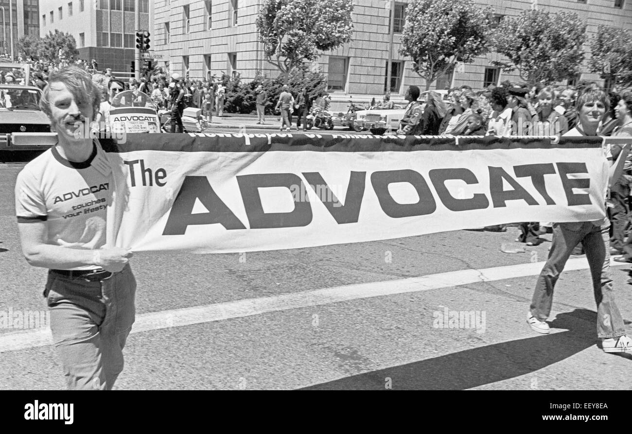 The Advocate in the 1975 Gay Pride Parade, San Francisco - Stock Image