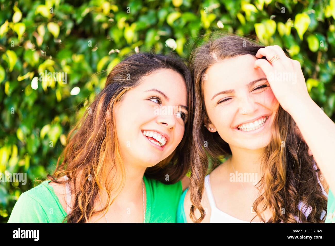 Portrait of female friends (14-15) - Stock Image
