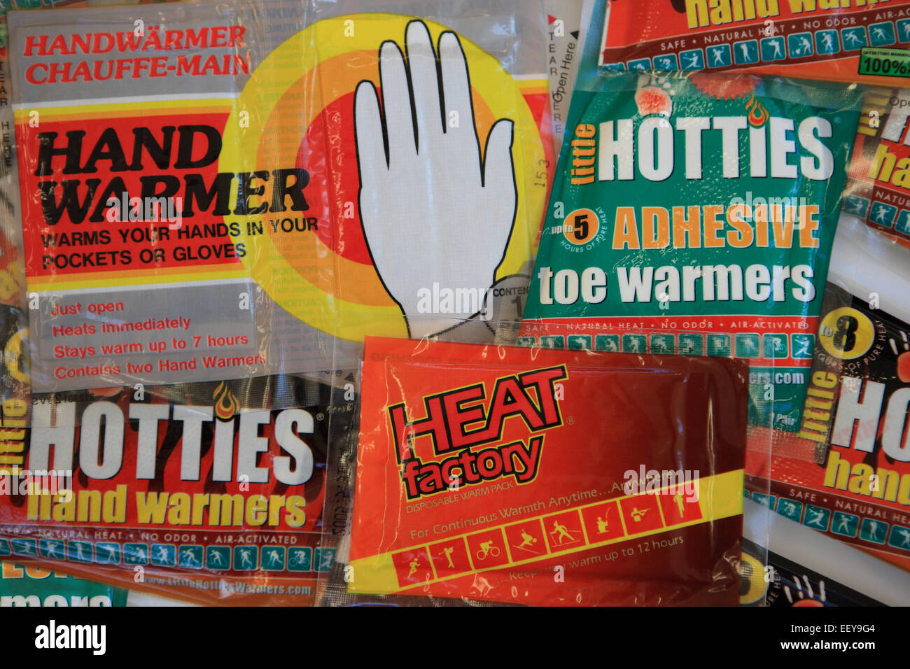 Various packets of hand and toe warmers usually used during cold weather when outdoors. - Stock Image