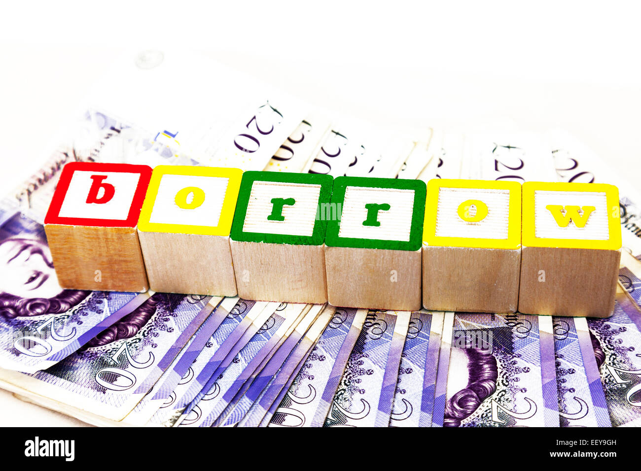 borrow borrowing money loans loan debt interest rates cost poor more poorer people cut out copy space white background - Stock Image