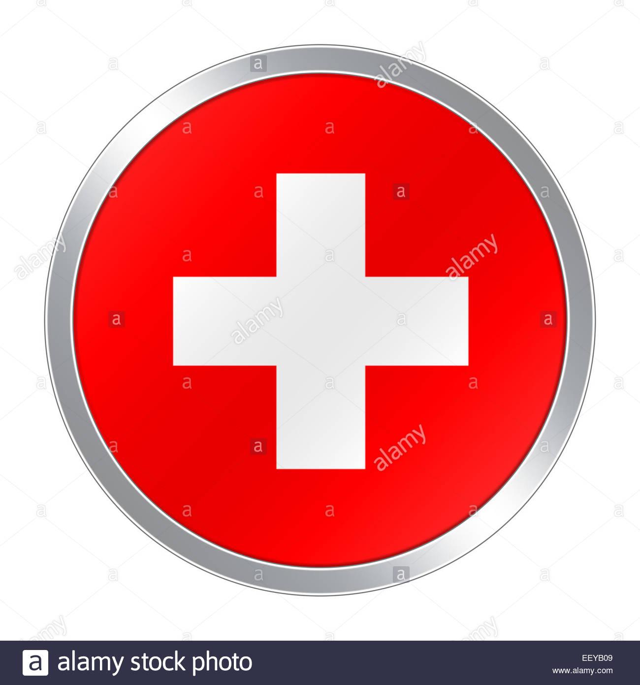 Flag button icon of Swiss Schweiz Schwitzerland Suisse - Stock Image