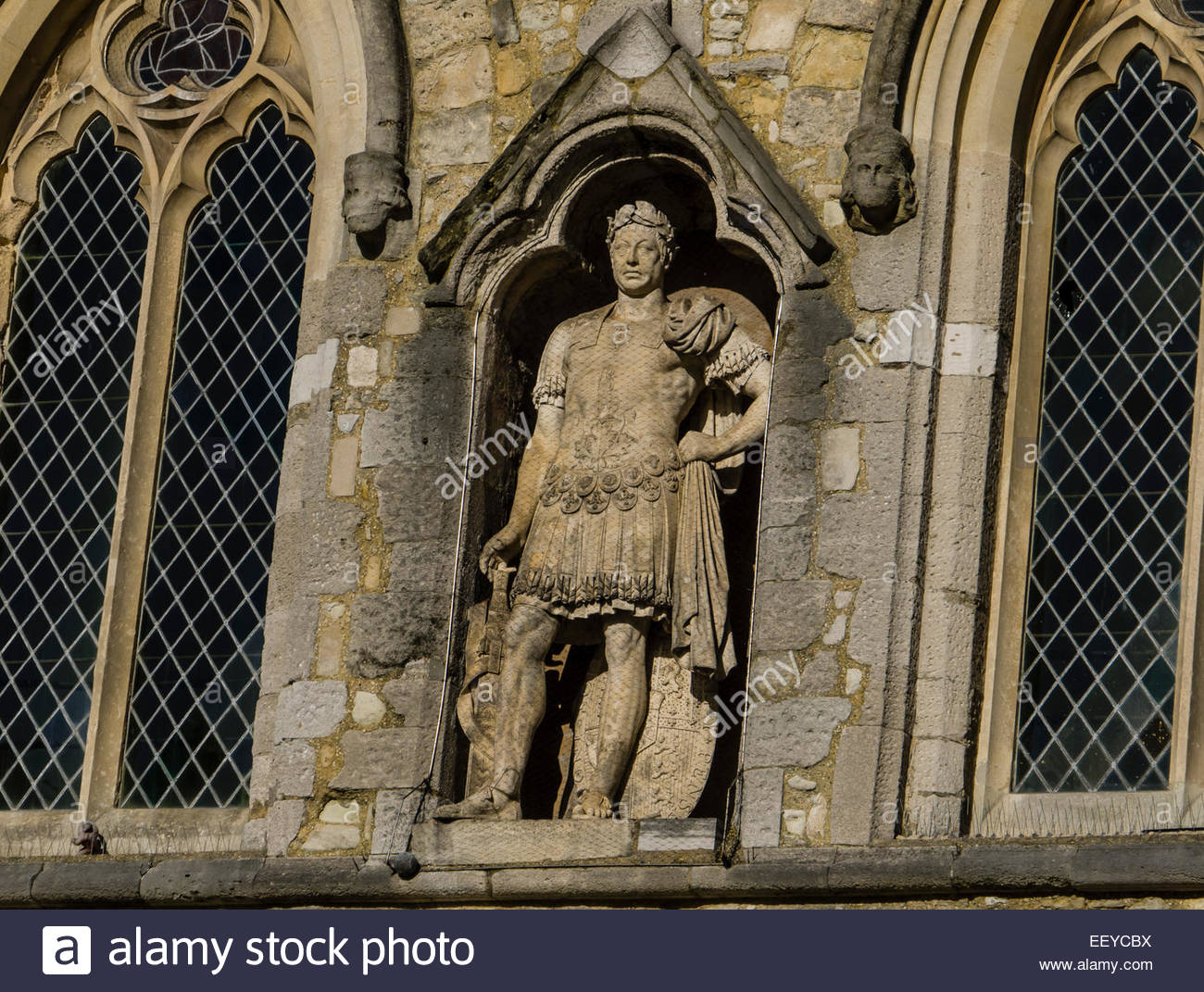 Statue of King George III in Roman dress above the,Bargate Southampton Hampshire England UK Stock Photo