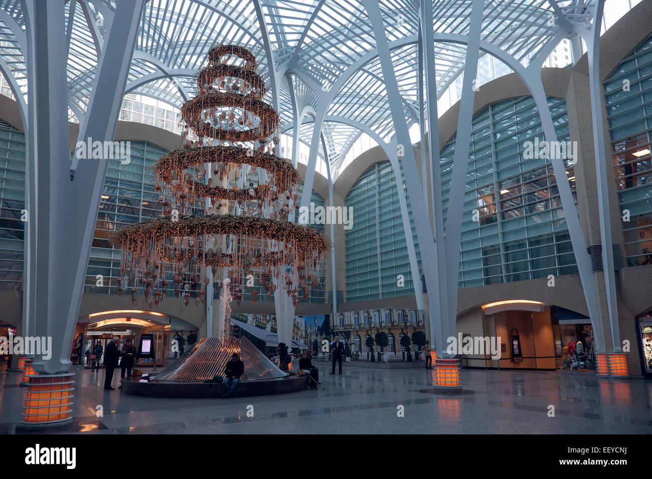 Christmas tree in Brookfield Place; BCE Place; Bay & Front; Toronto; Ontario; Canada; commercial Building; downtown; - Stock Image