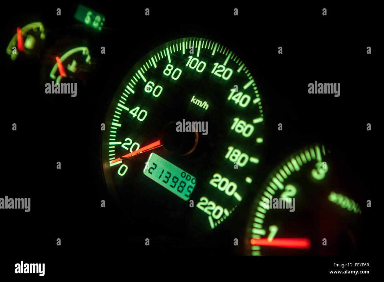 Dash board lights - Stock Image