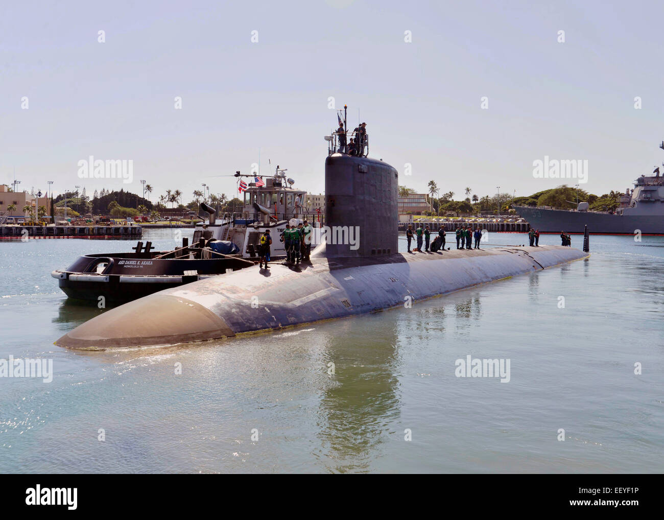 US Navy Virginia-class attack submarine USS Mississippi departs Joint Base Pearl Harbor-Hickam for routine operations - Stock Image