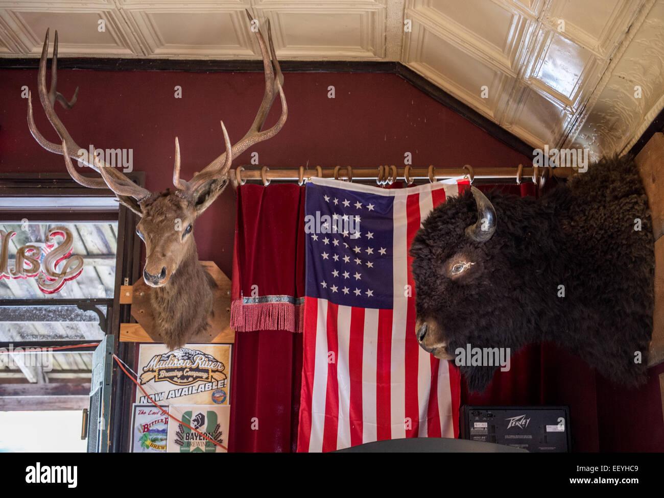 Tourists enjoy summer fun in Virginia City, Montana. (Photo by Ami Vitale) - Stock Image
