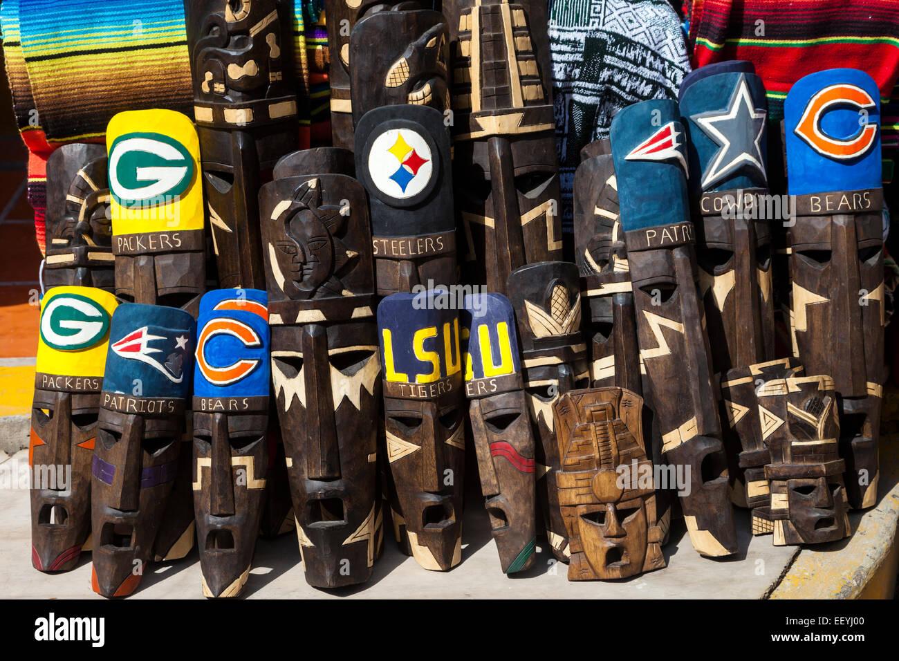 05e4d036962 Souvenir Shops Selling Masks with Names of U.S. Football Teams. Playa del  Carmen