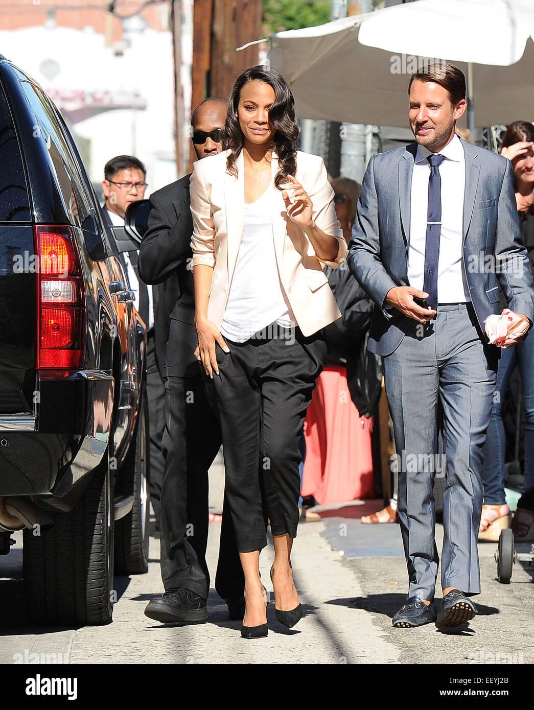 Zoe Saldana Arrives In Maternity Wear At Jimmy Kimmel Live Stock Photo Alamy