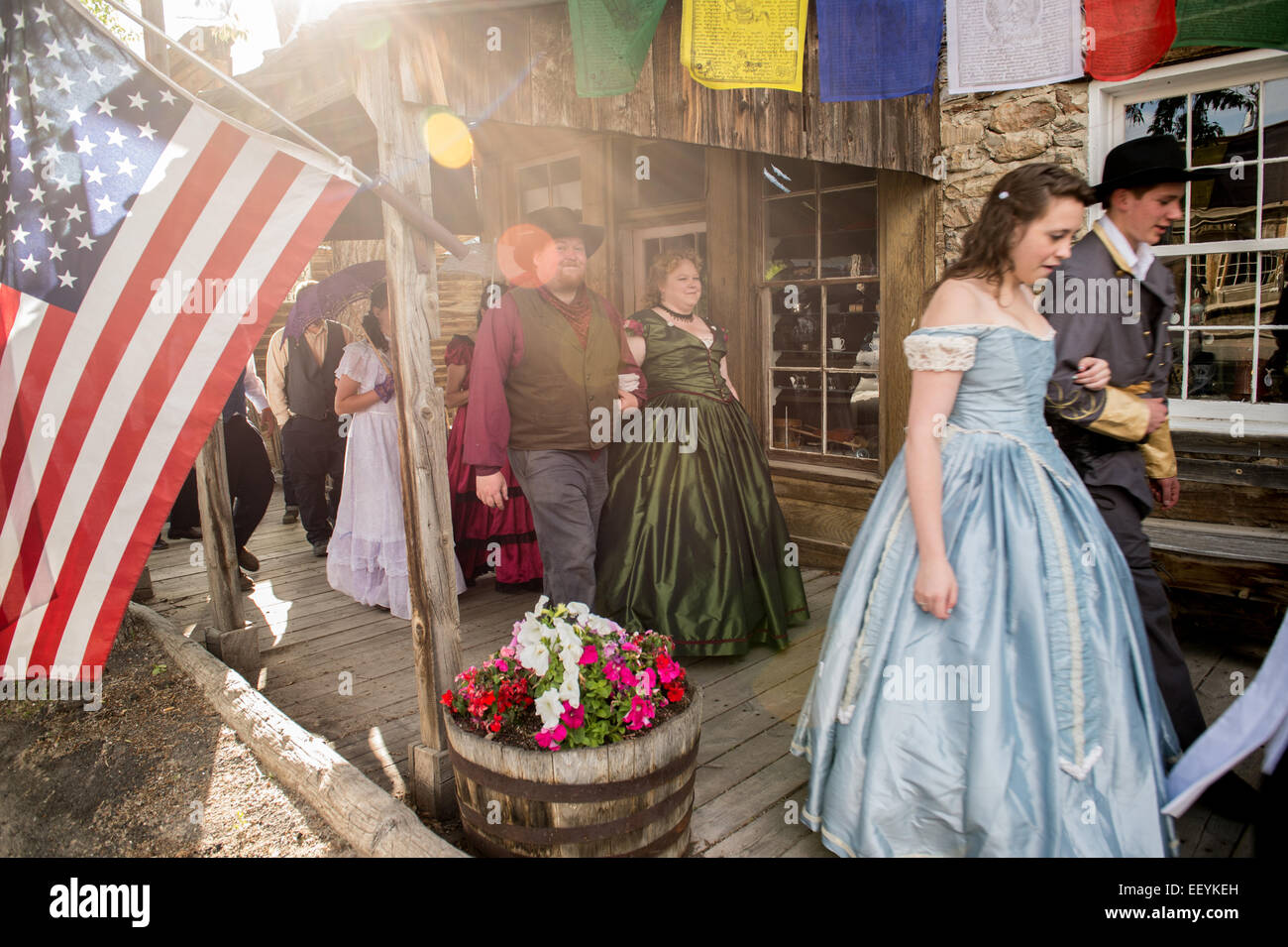 Tourists and Montanans gather for the 1864 Grand Victorian Ball for Montana Territory on June 21, 2014 in Virginia - Stock Image