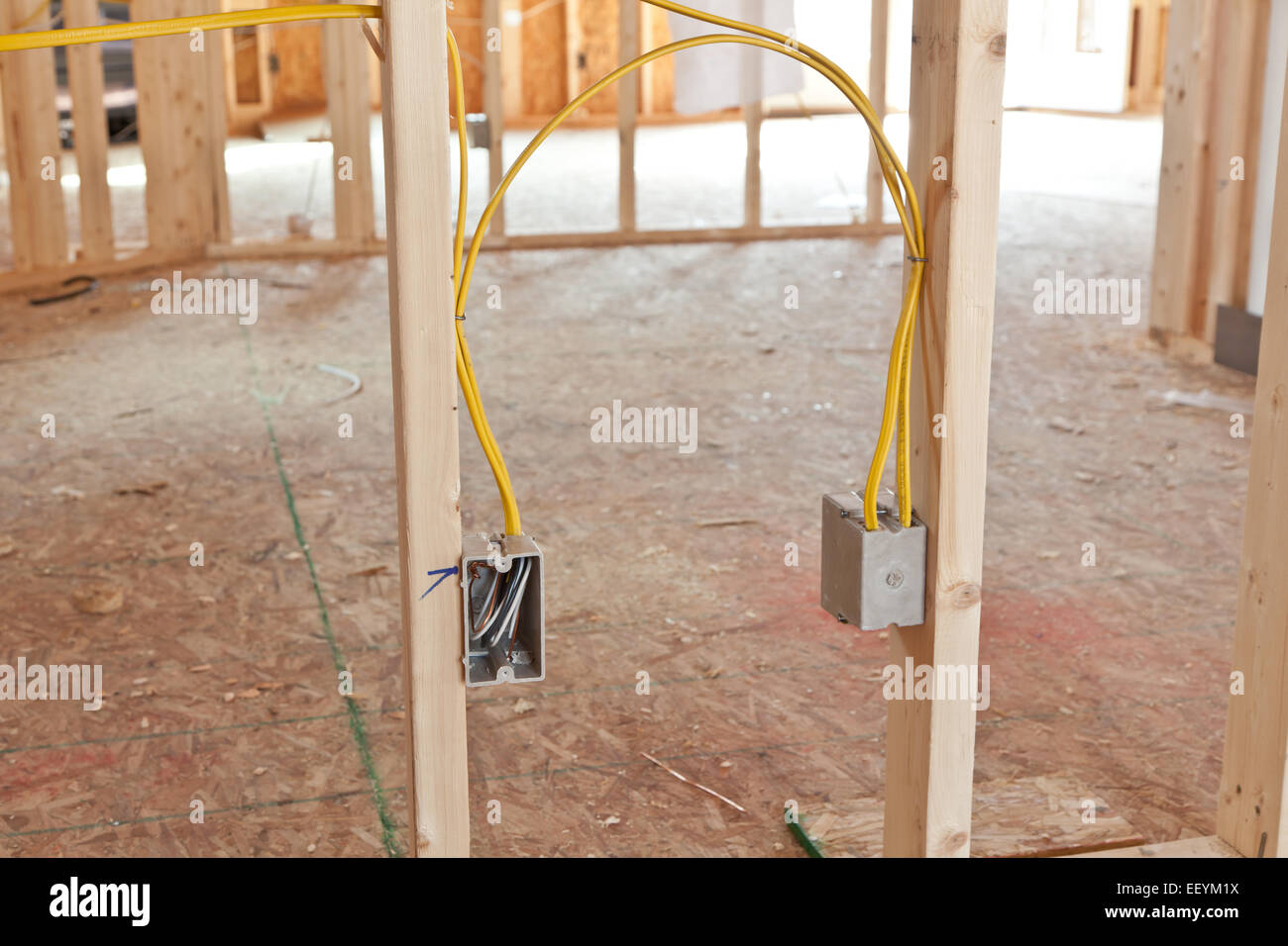 Electrical wiring in new home construction Stock Photo ... on
