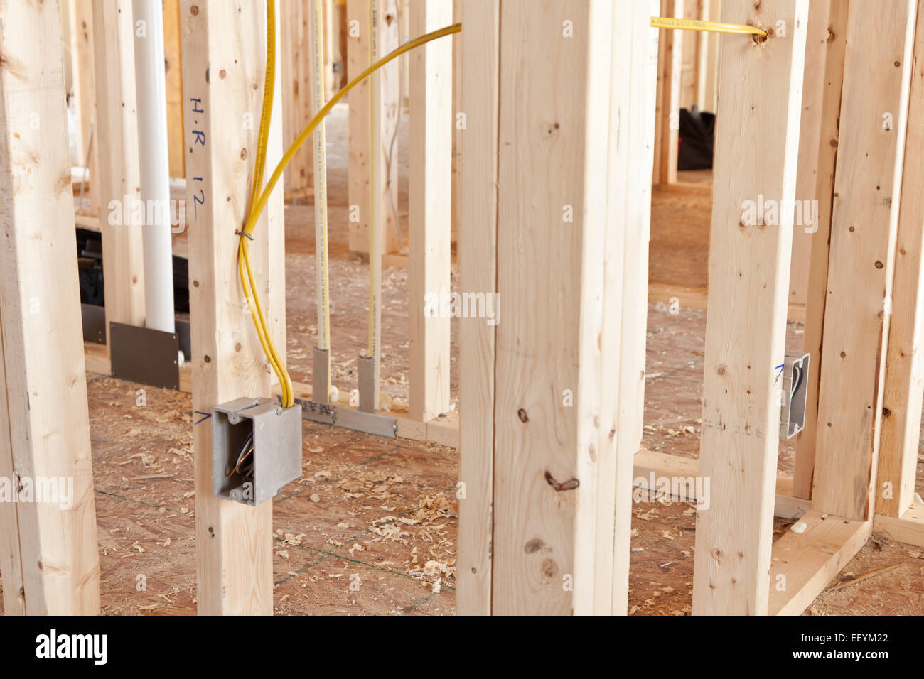 Electrical wiring to a receptacle box in a new home under construction -  Stock Image