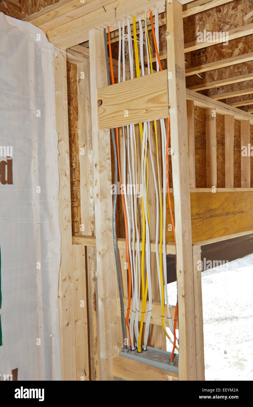 Electrical wiring in new home construction - Stock Image