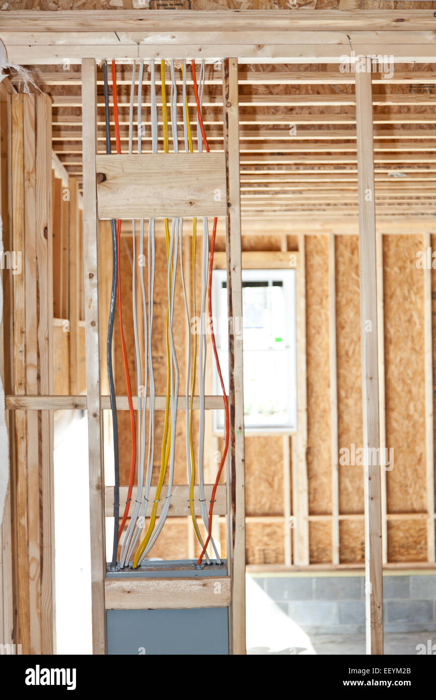 Electrical wiring from a breaker box in a new home under construction -  Stock Image