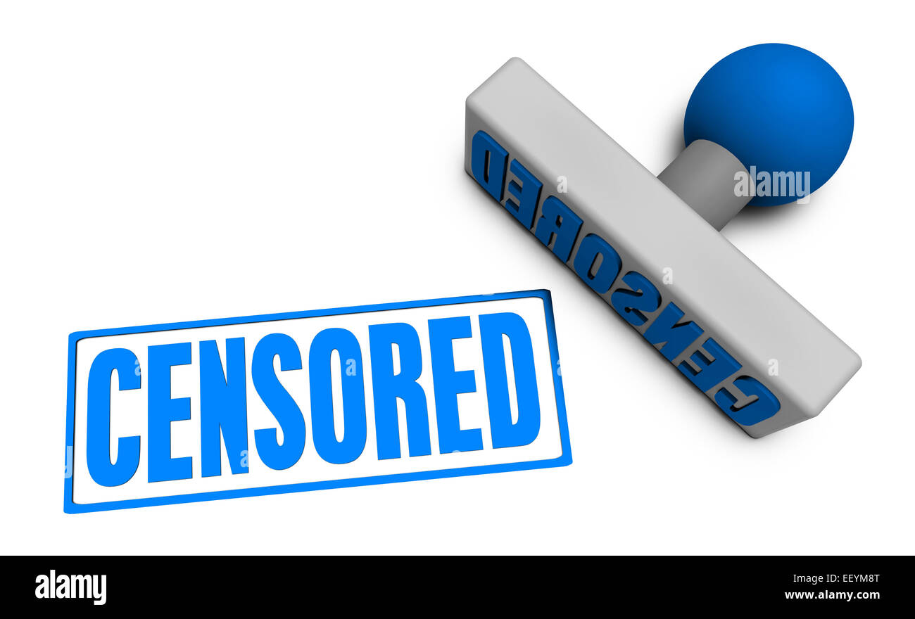 Censored Stamp or Chop on Paper Concept in 3d - Stock Image