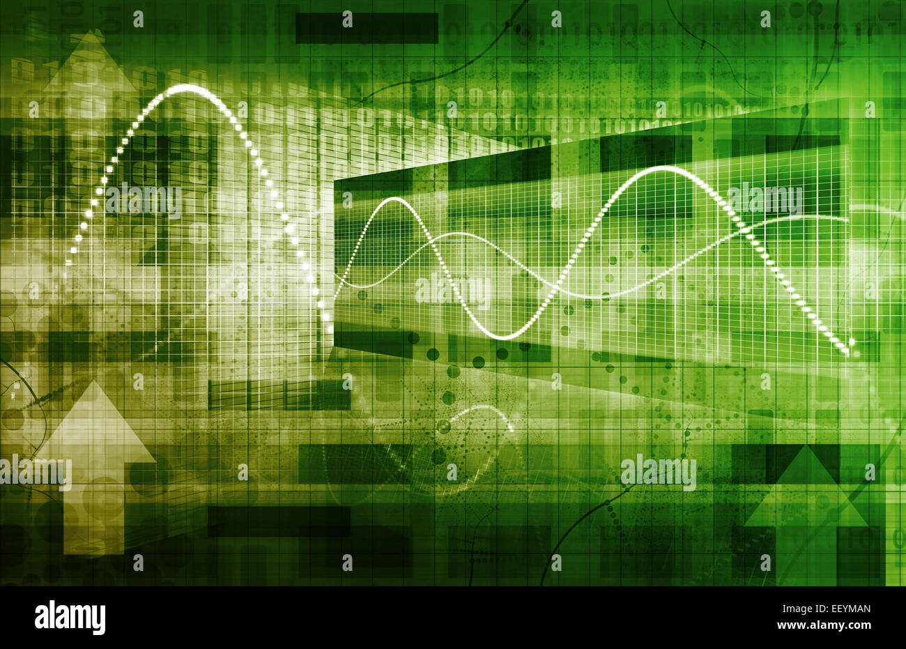 Technology Framework with a System Network Big Data - Stock Image