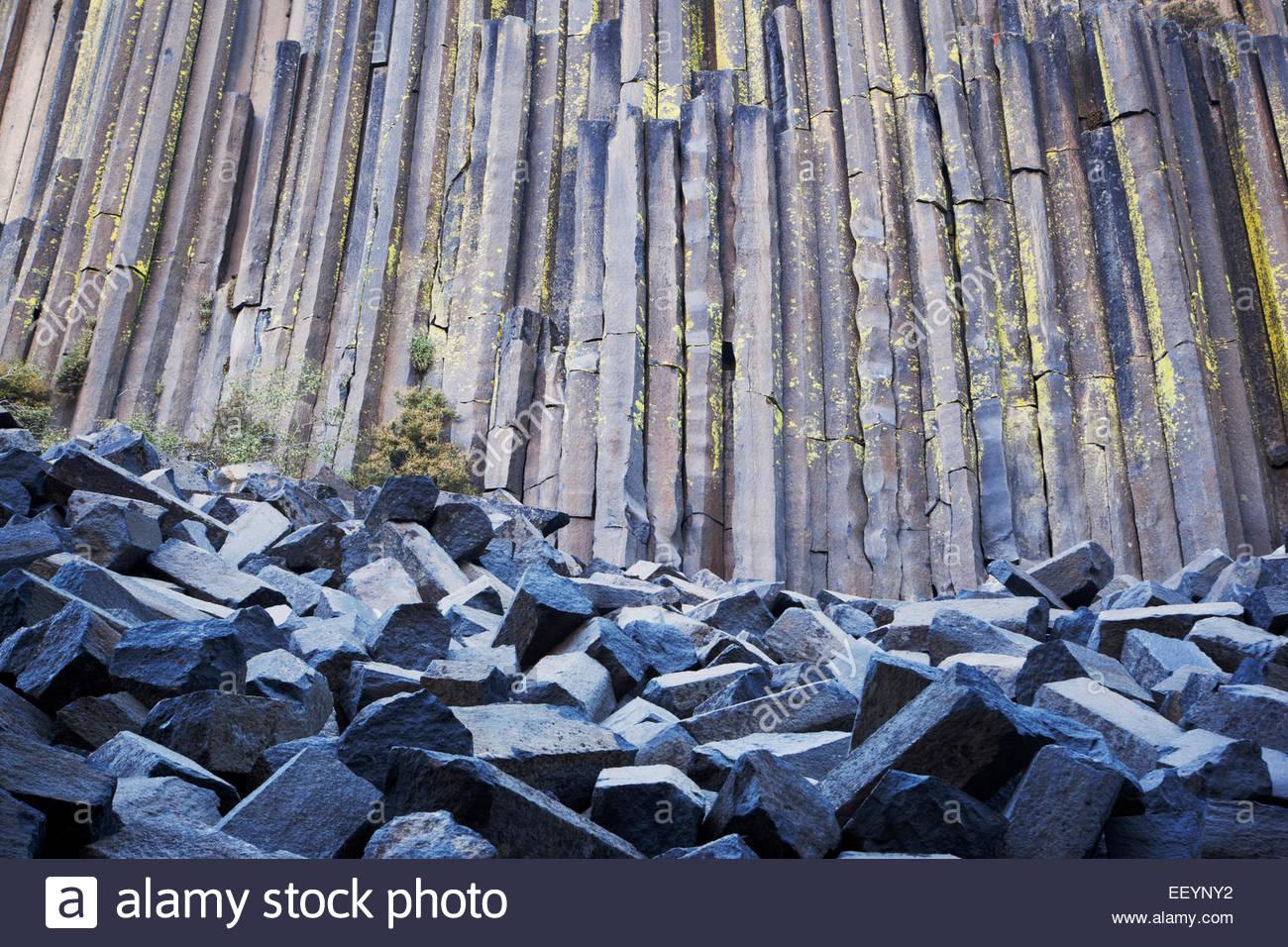 Columnar Basalt at Devils Postpile National Monument, California - Stock Image